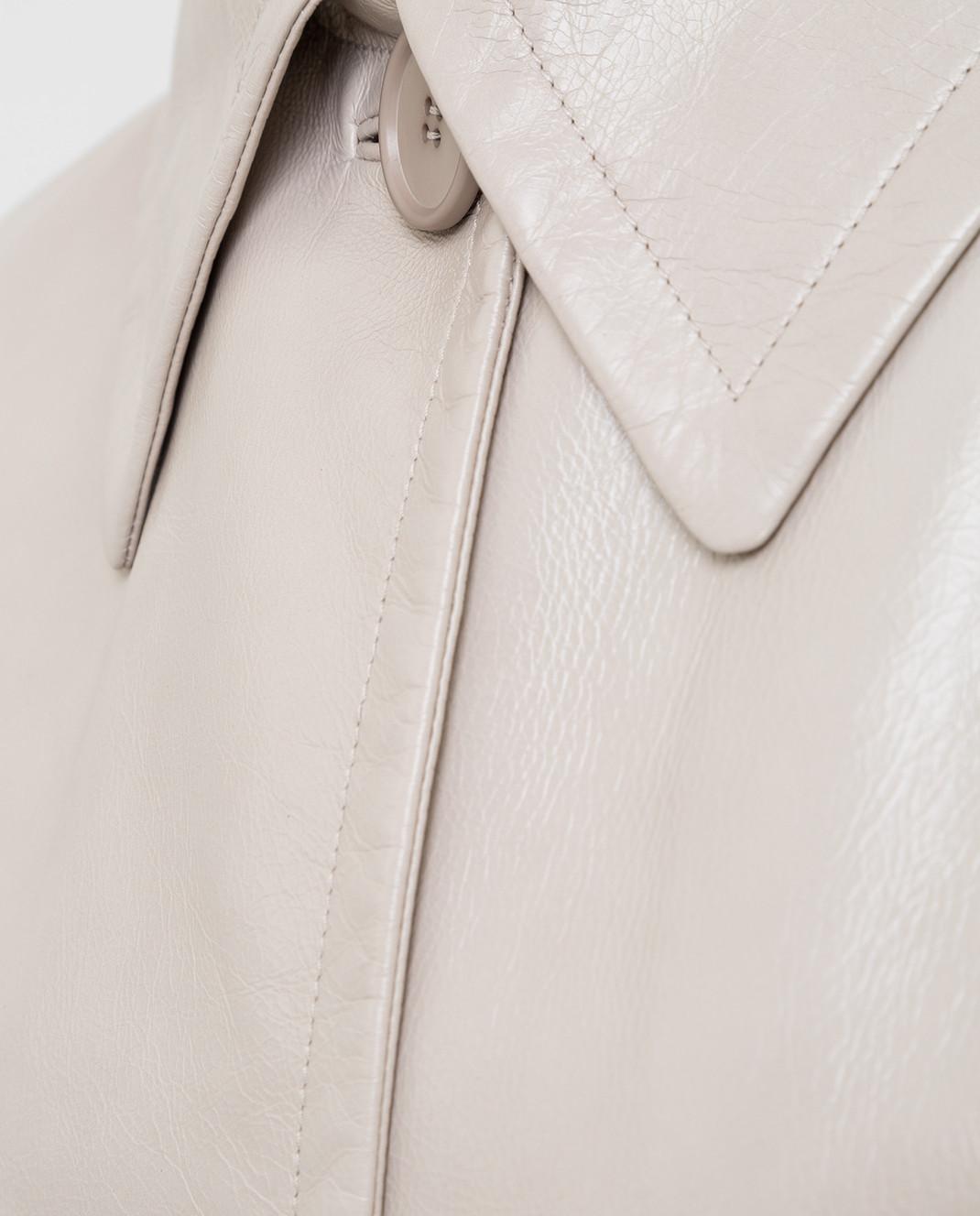 Prada Бежевое кожаное пальто 569031UKQ изображение 5