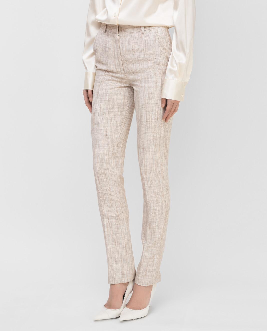 Victoria Beckham Бежевые брюки TRSLM2402 изображение 3