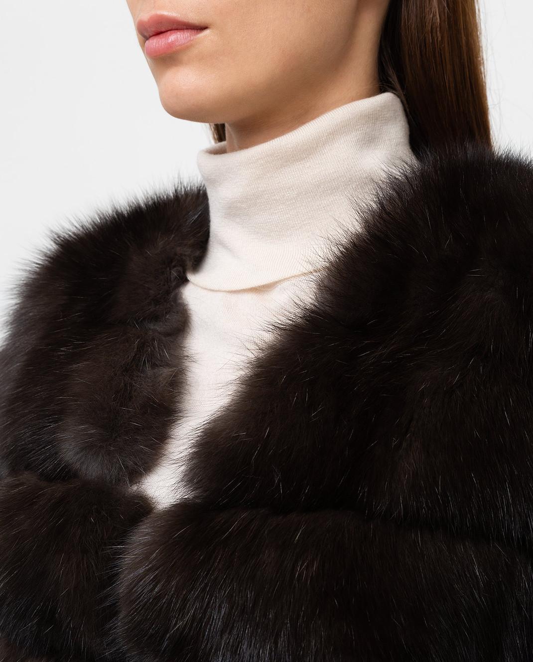 Real Furs House Темно-коричневая шуба из соболя SBR596DARKSILV1 изображение 5