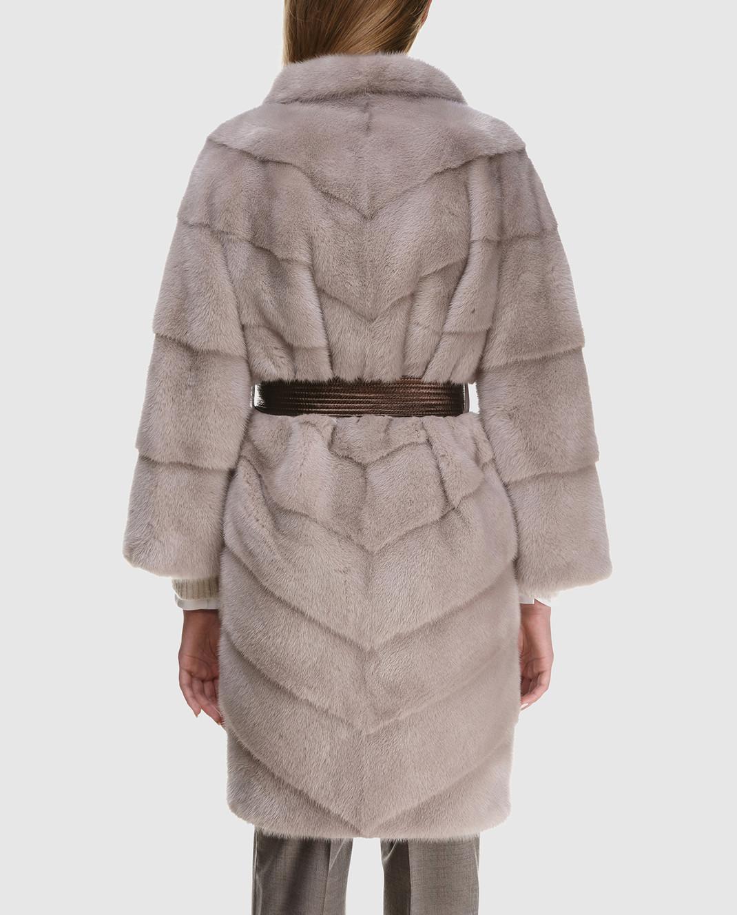 Florence Mode Серая шуба из меха норки с поясом изображение 4