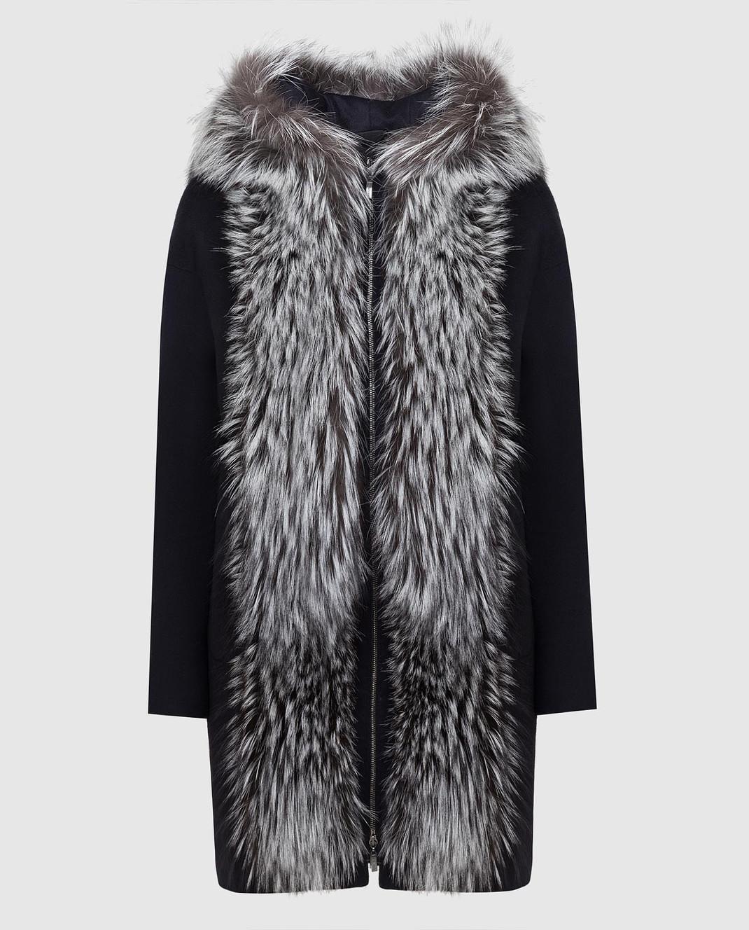 Via Cappella Темно-синее пальто из кашемира с мехом лисы P11785CASHMERE