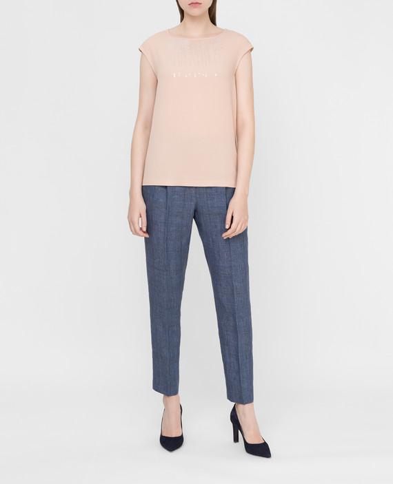 Синие брюки из льна hover