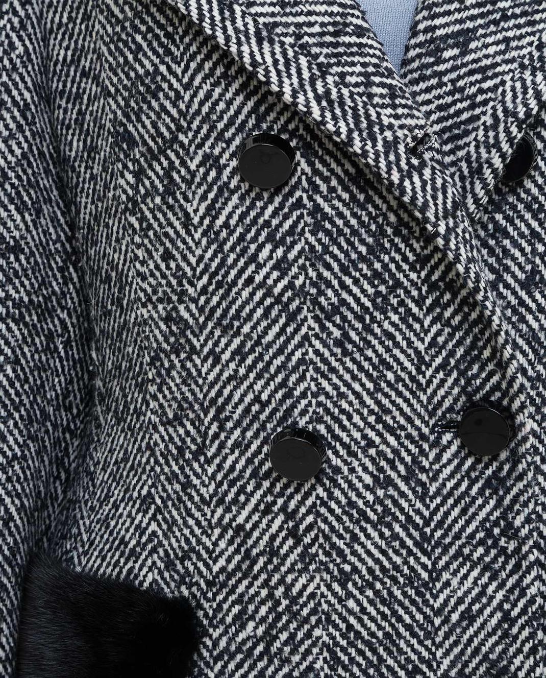 Heresis Темно-синее пальто с мехом норки C07130SLIMPVI изображение 5