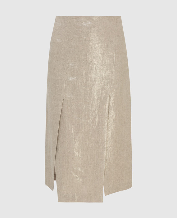 Бежевая юбка из льна