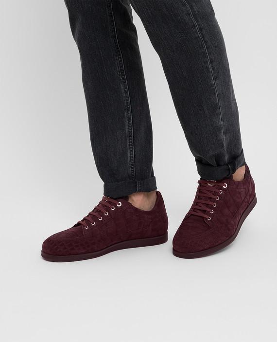 Бордовые кроссовки из кожи крокодила hover