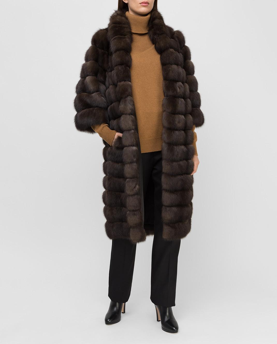 Real Furs House Темно-коричневая шуба из соболя 24342SILVERY изображение 2