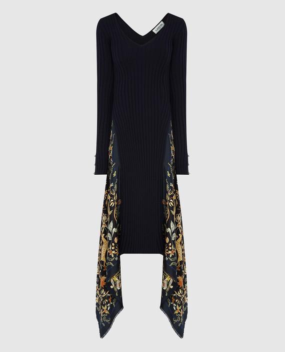 Темно-синее платье из шерсти