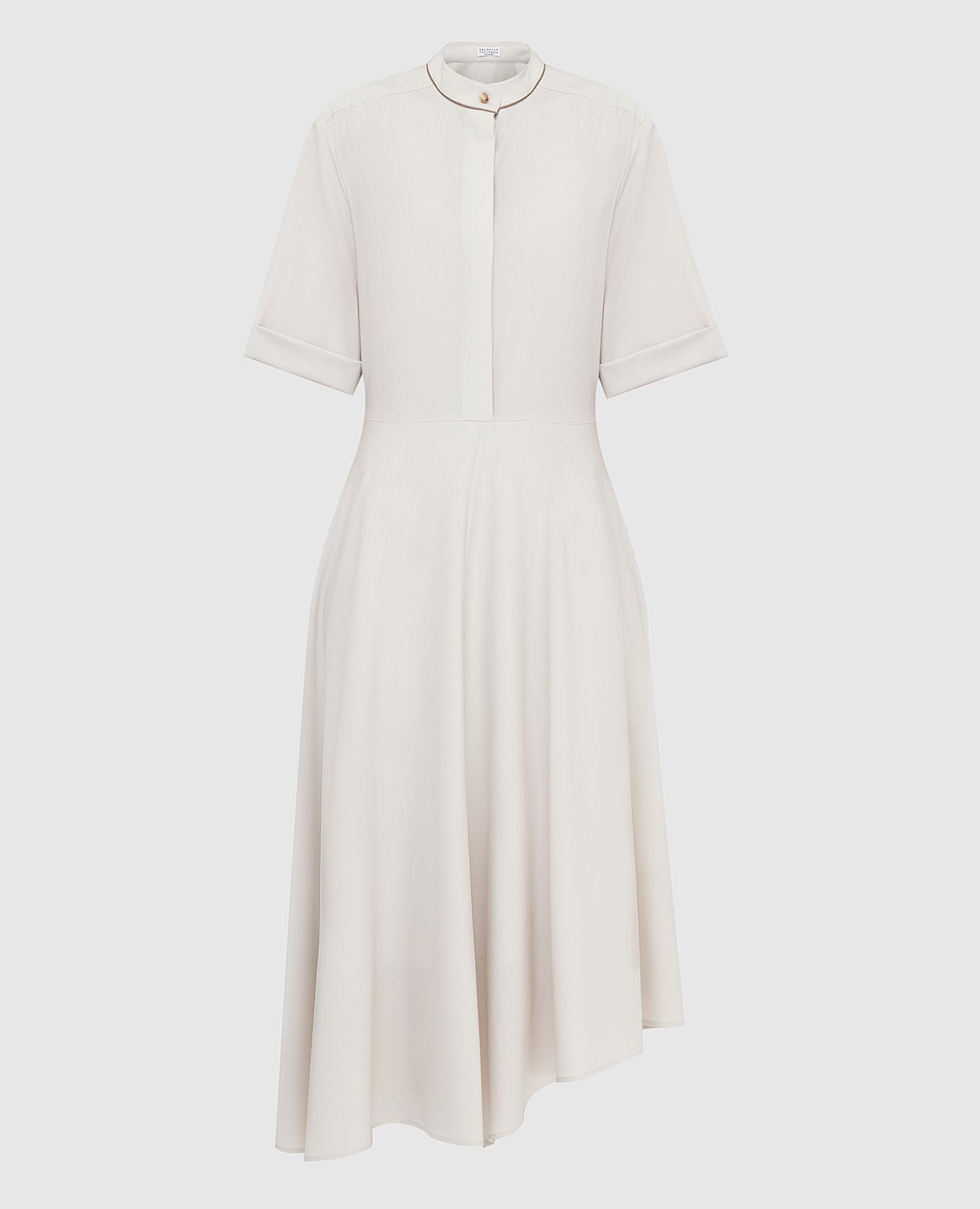 Светло-бежевое платье из шерсти