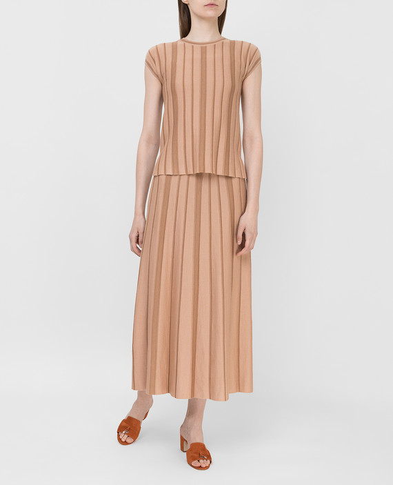 Темно-бежевая юбка из кашемира и шелка hover