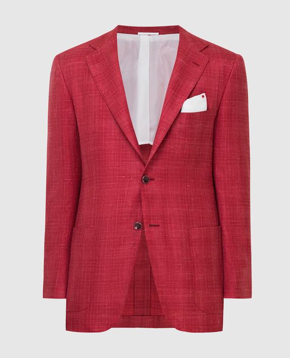 Красный блейзер из кашемира, шелка и льна