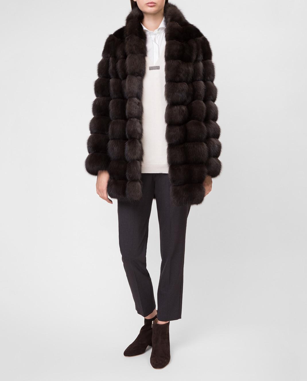 Real Furs House Черное меховое пальто SBR29548DARK изображение 2