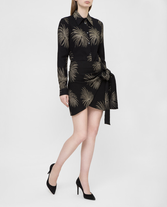 Черная юбка с вышивкой из люрекса hover