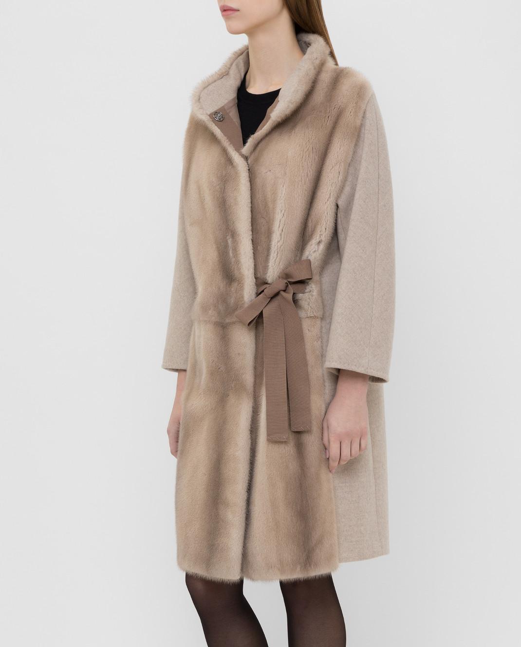 Giuliana Teso Бежевое пальто из шерсти с мехом норки 74QS285T072 изображение 3