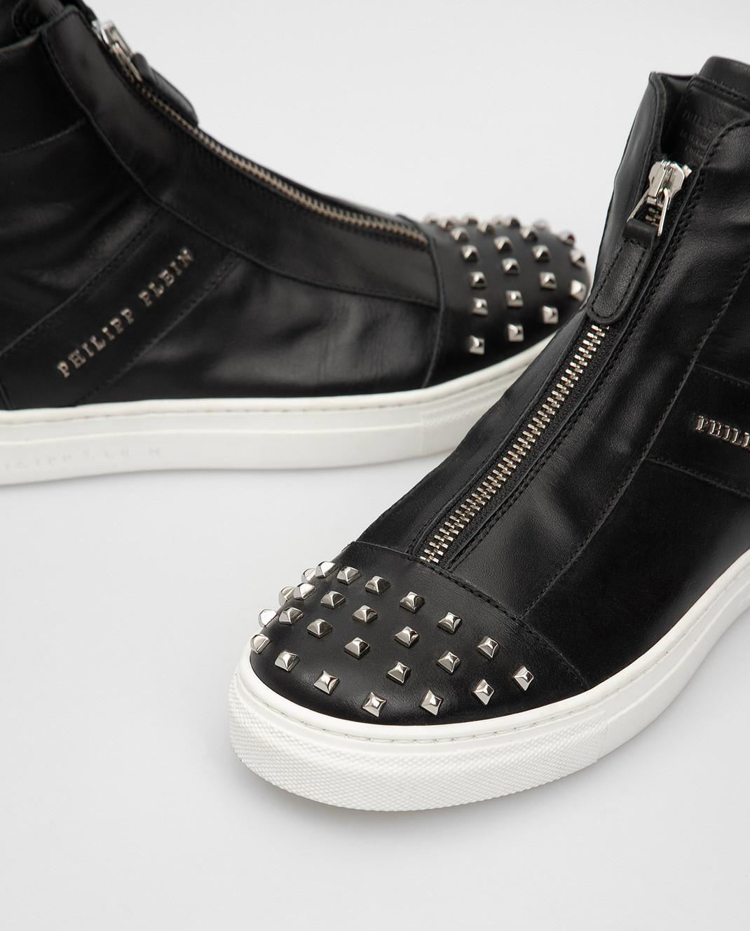 Philipp Plein Детские черные кожаные ботинки BSC0051 изображение 4
