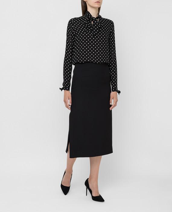 Черная юбка из шерсти и шелка hover