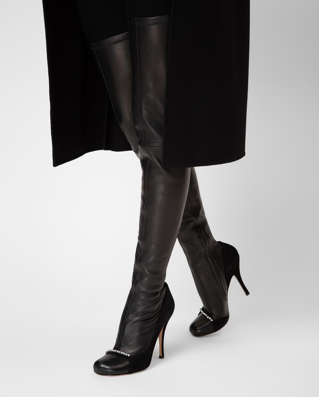 Valentino Черные кожаные ботфорты QW0S0I91PQM изображение 2
