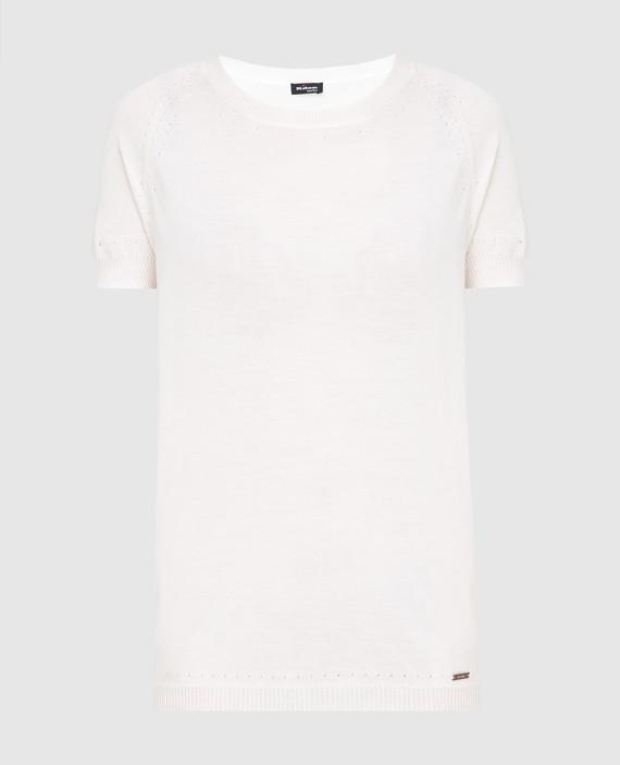 Светло-бежевая футболка из кашемира и шелка