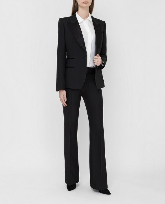Черные брюки из шерсти и шелка hover