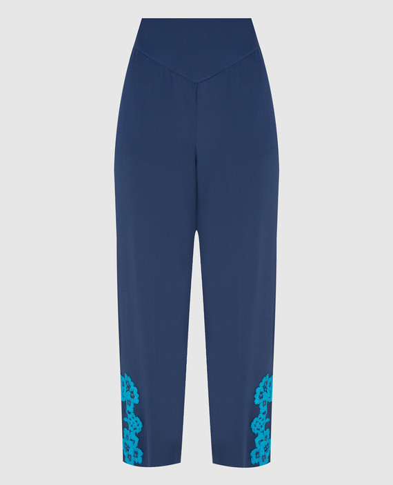 Синие брюки из шелка