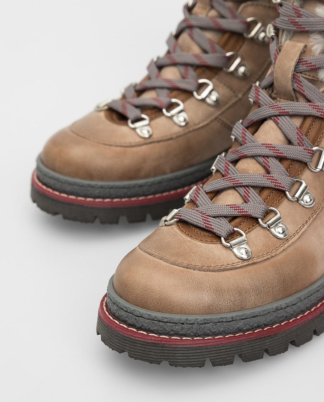 Brunello Cucinelli Детские бежевые кожаные ботинки изображение 4