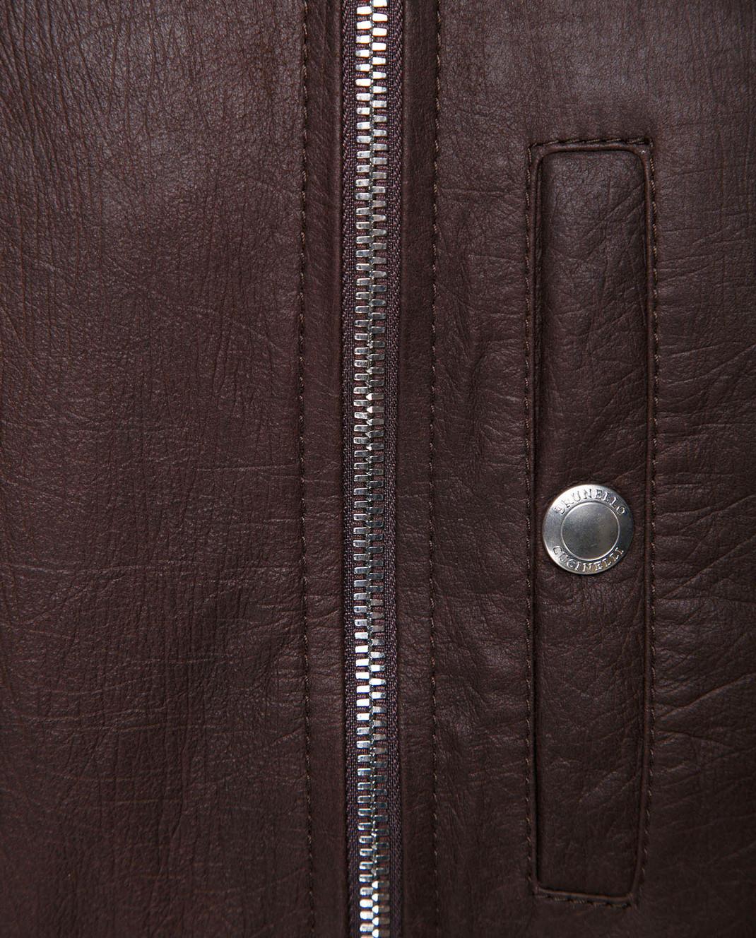Brunello Cucinelli Коричневый кожаный жилет изображение 5