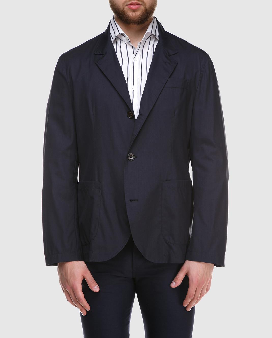 Brunello Cucinelli Темно-синий пиджак MH4626132 изображение 3
