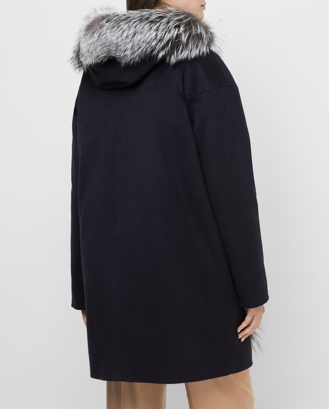 Via Cappella Темно-синее пальто из кашемира с мехом лисы P11785CASHMERE изображение 4