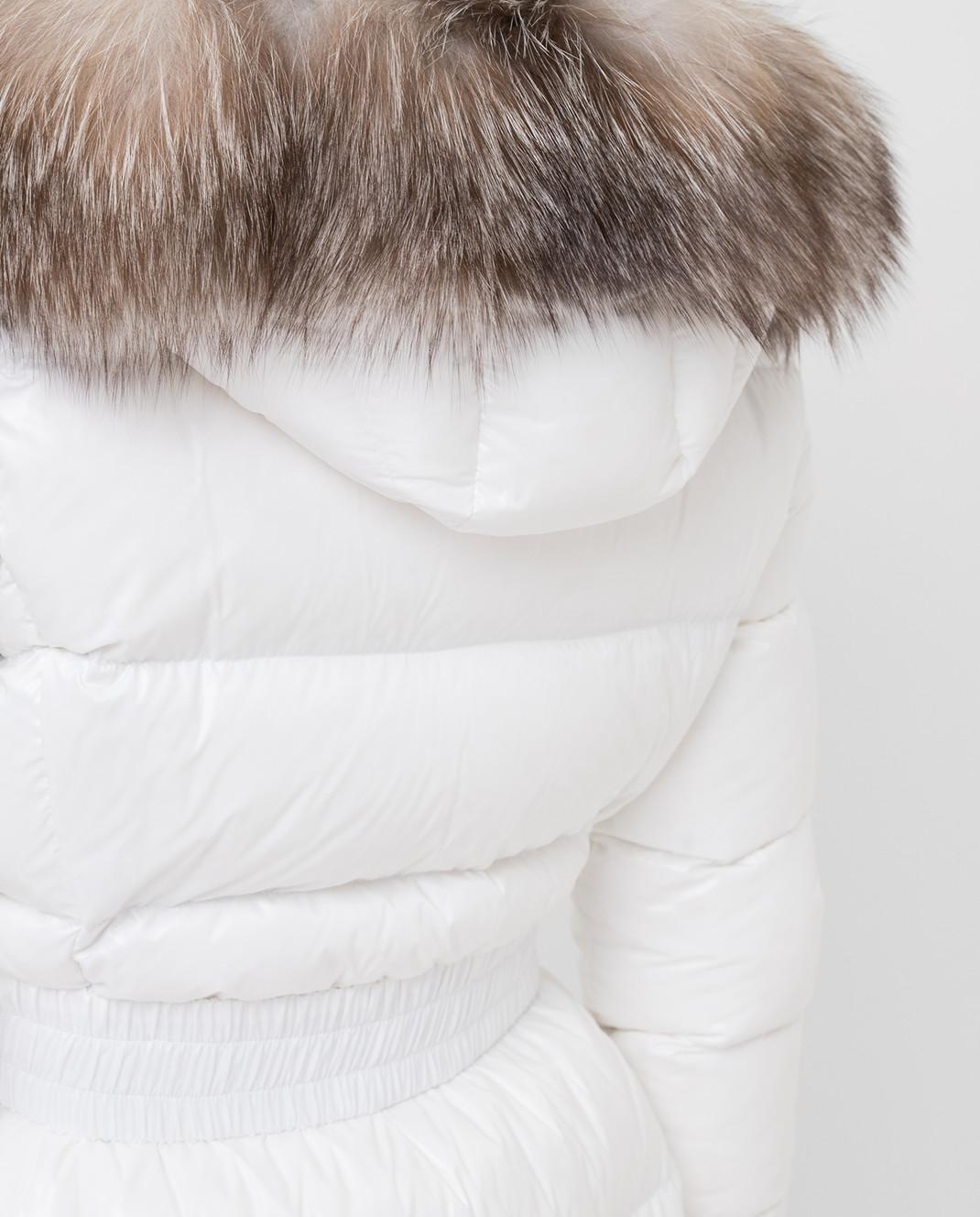 Moncler Белый пуховик с мехом лисы 4984525C0065 изображение 5