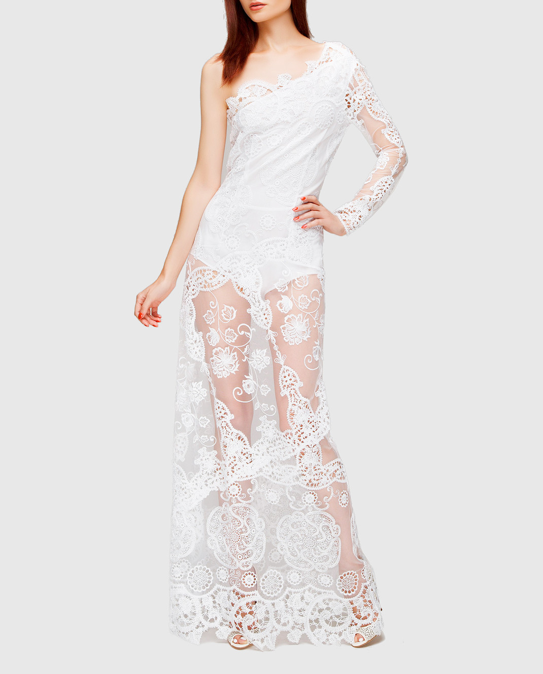 Charo Ruiz Белое платье с кружевом 00354