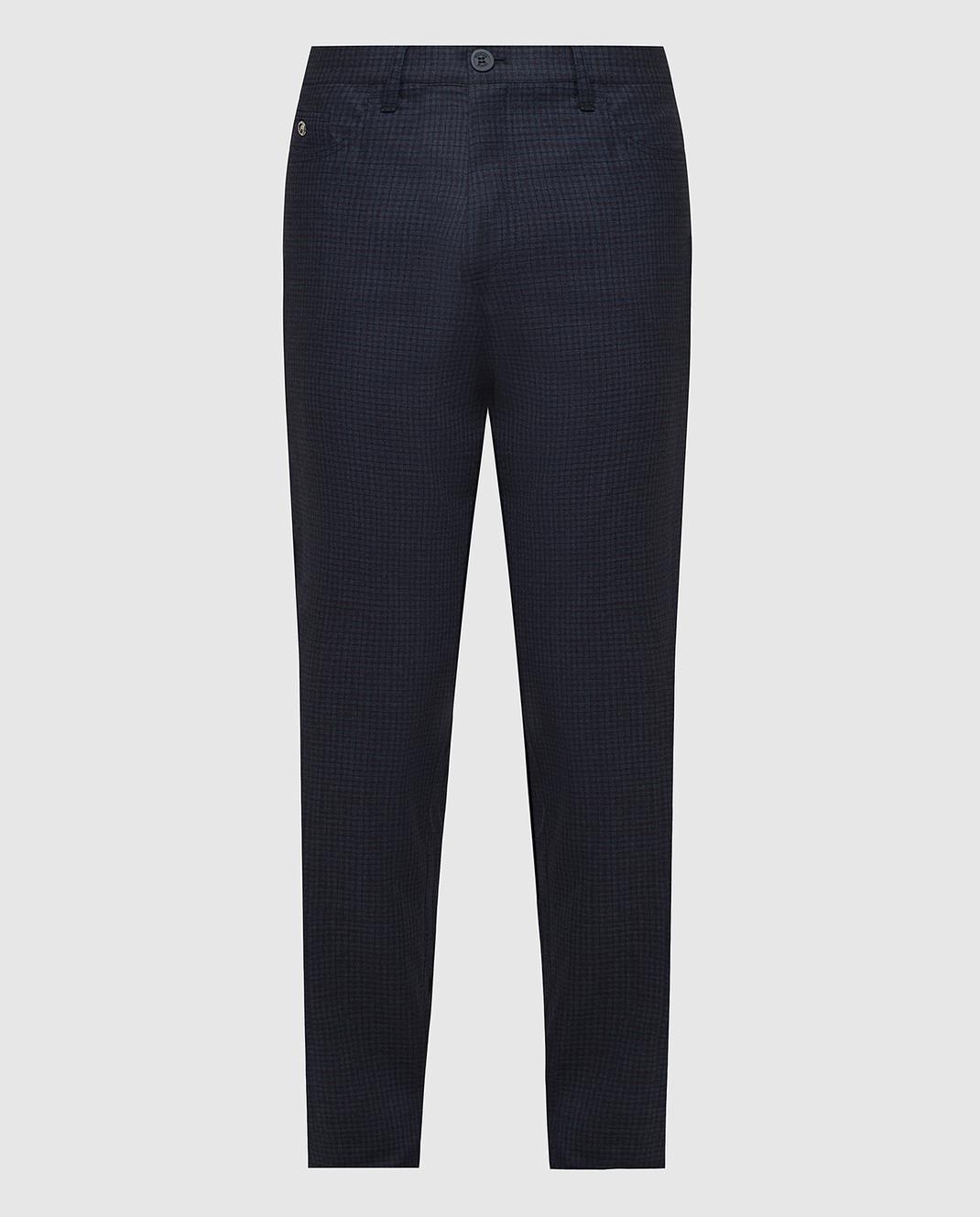 Stefano Ricci Темно-синие брюки из шерсти изображение 1
