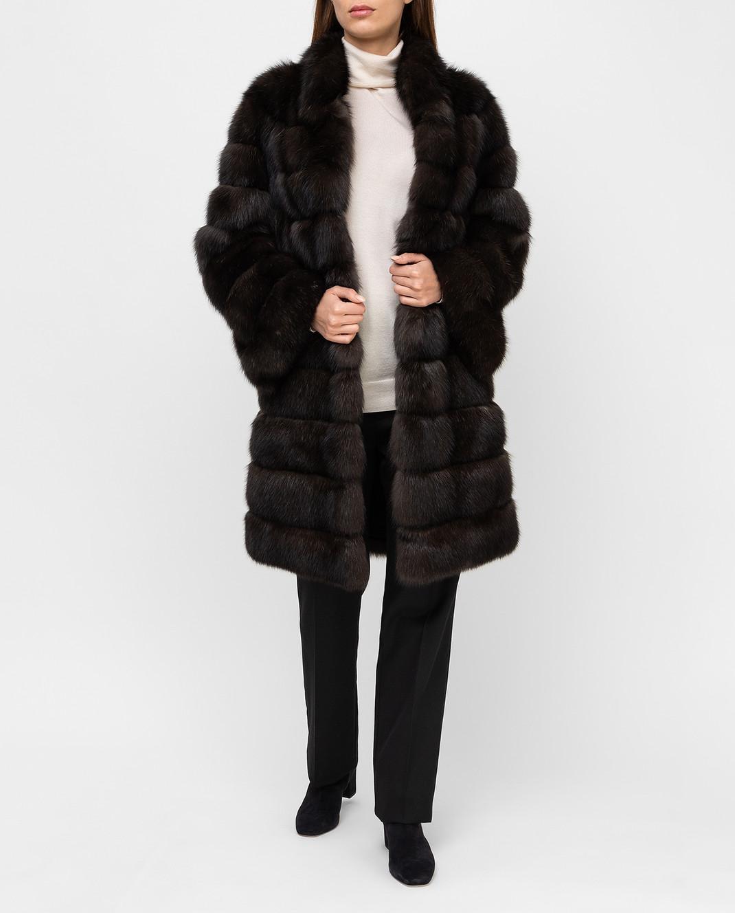 Real Furs House Темно-коричневая шуба из соболя SBR28622DARKSILV290 изображение 2