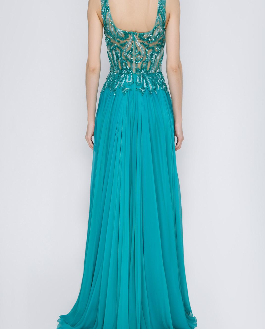 Zuhair Murad Бирюзовое платье из шелка RDRS15008DL99 изображение 4
