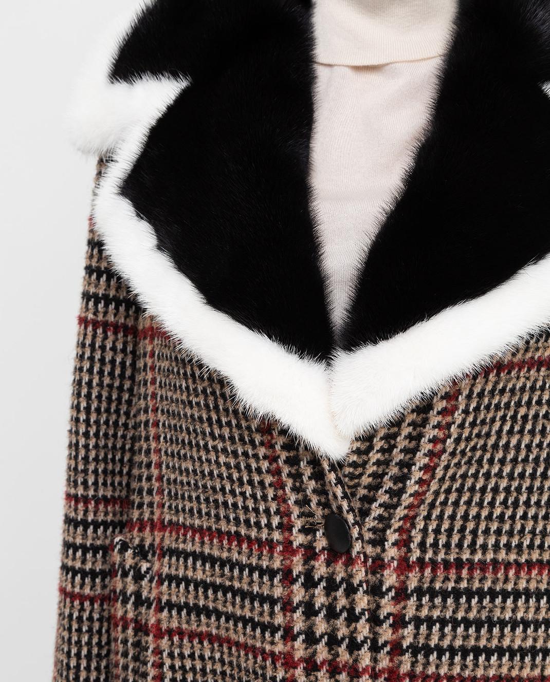 Simonetta Ravizza Бежевое пальто с мехом норки AZZURRA3 изображение 5