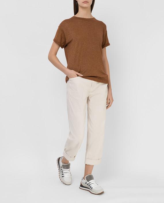 Светло-бежевые джинсы hover