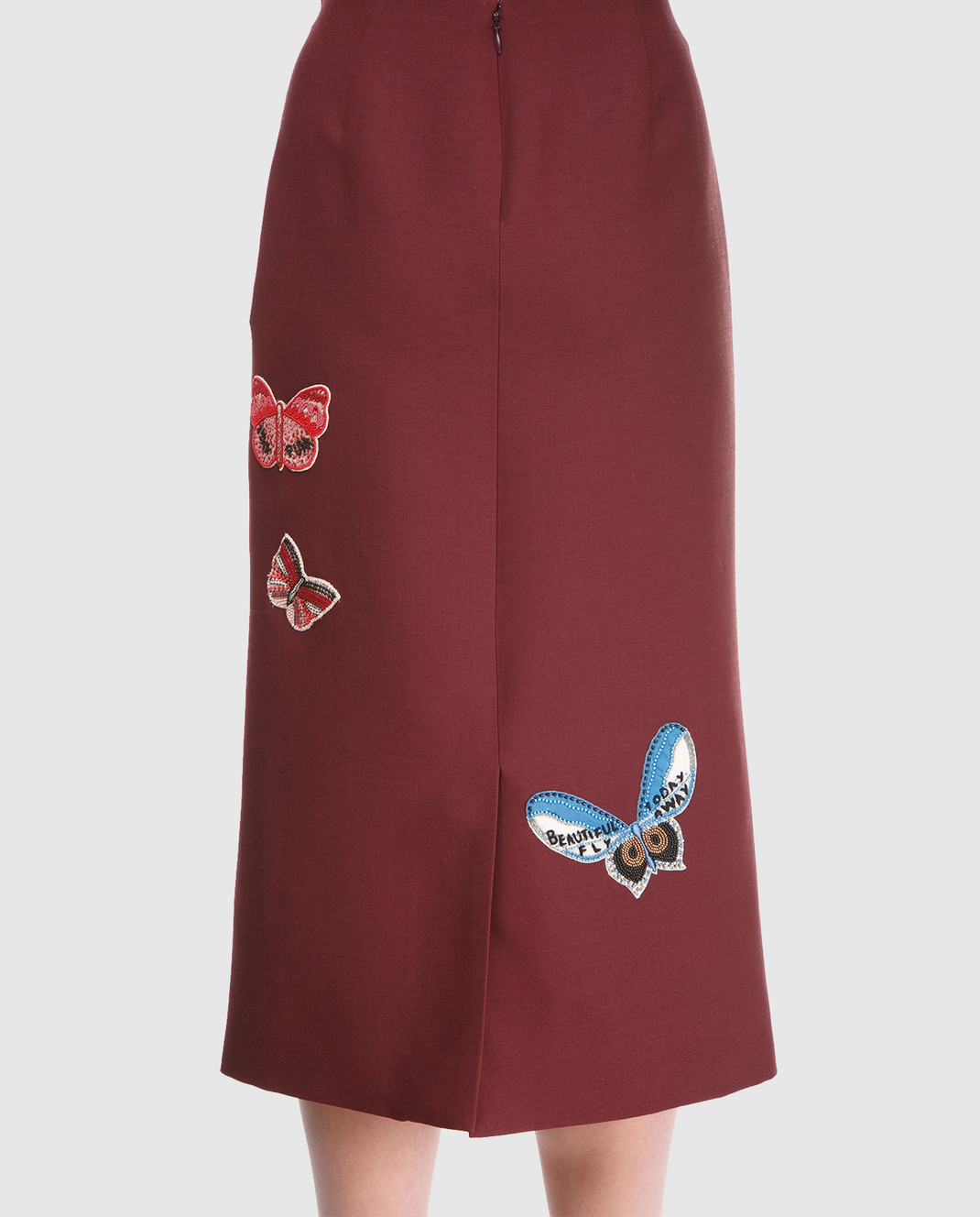 Valentino Бордовая юбка  из шерсти и шелка PB3RA2B01CF изображение 5