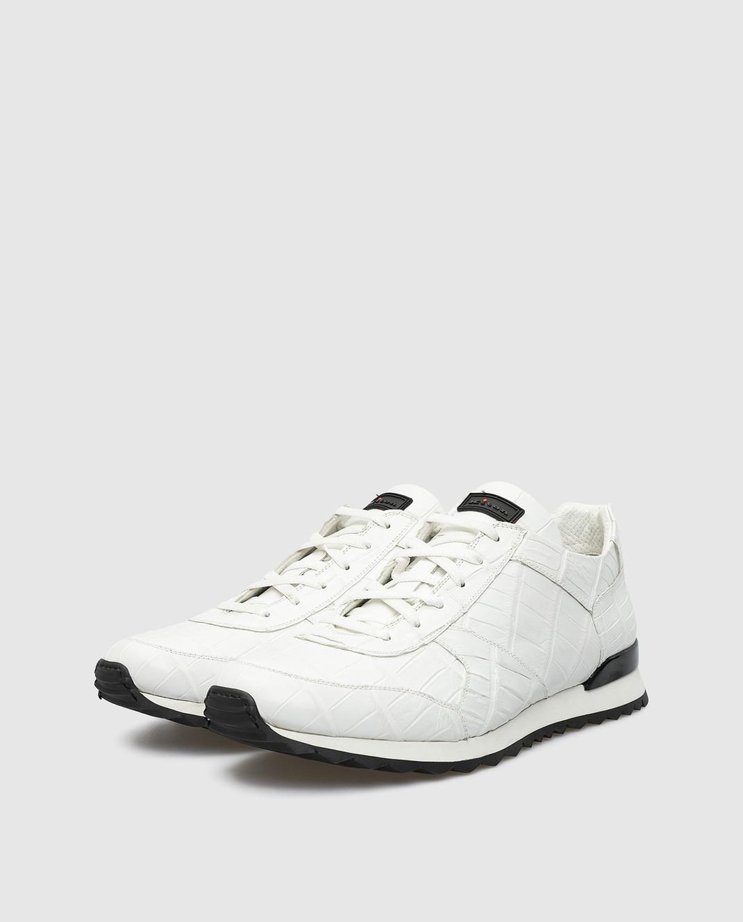 Kiton Белые кроссовки из кожи крокодила USSVLANN0010227 изображение 3