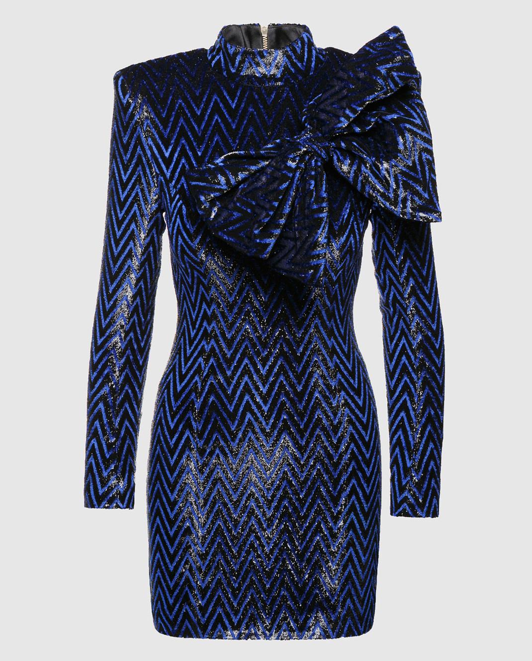 Balmain Синее платье с блестками 143140