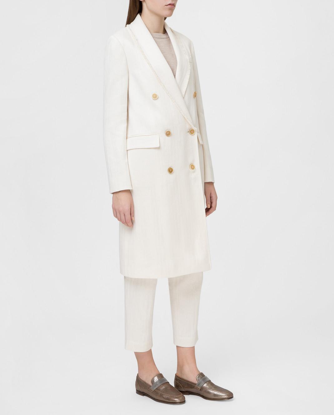 Brunello Cucinelli Белое пальто MF5779291 изображение 3