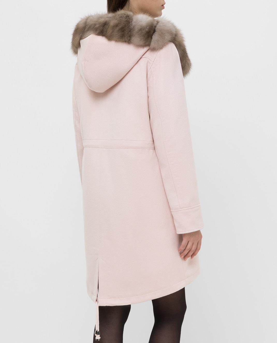 Real Furs House Светло-розовая парка из кашемира с мехом соболя изображение 4
