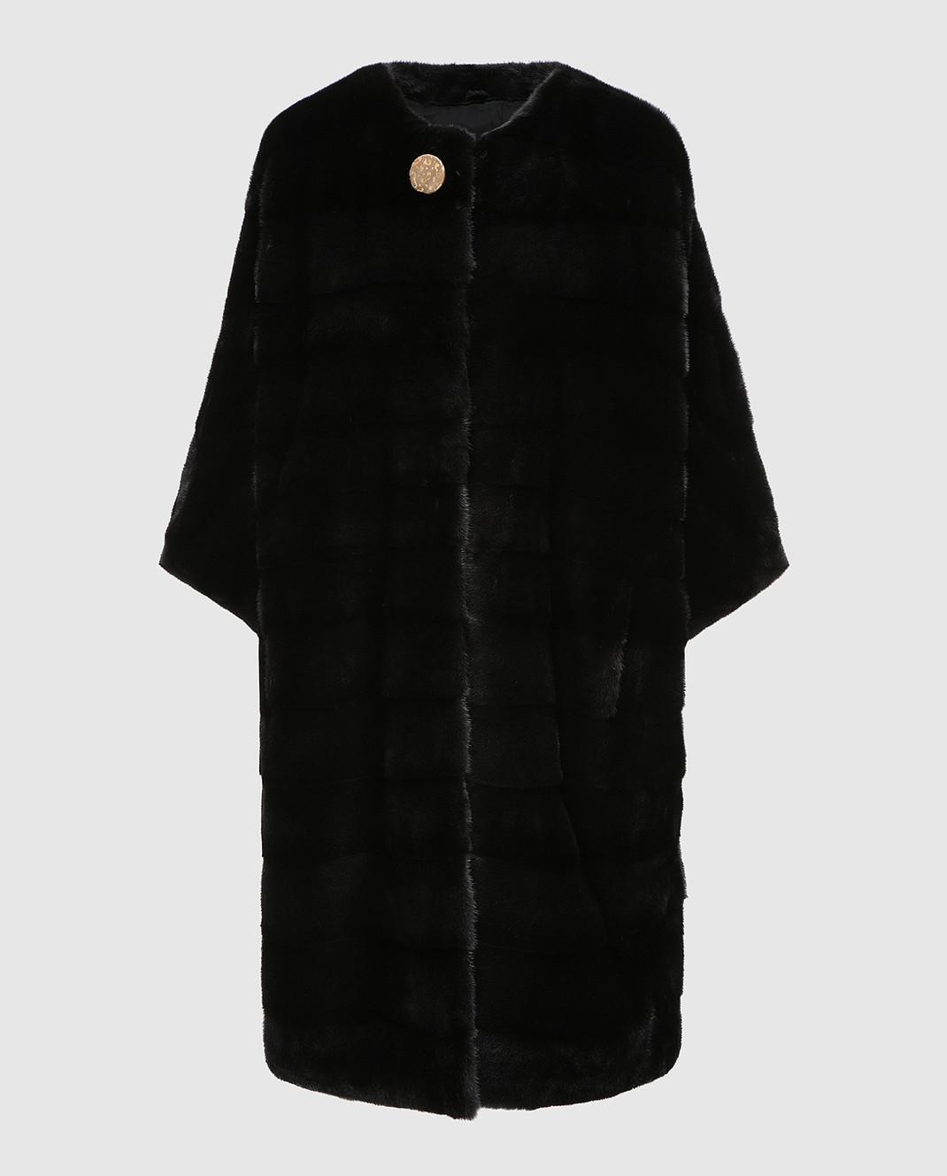 Real Furs House Черное меховое пальто TB923