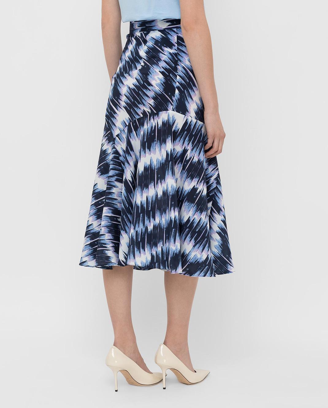 Max Mara Sportmax Темно-синяя юбка из шелка FALENA изображение 4