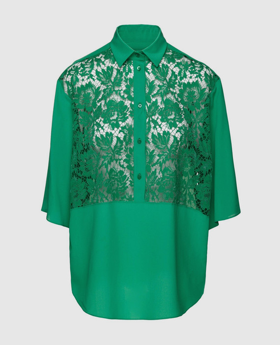 Зеленая блуза из шелка