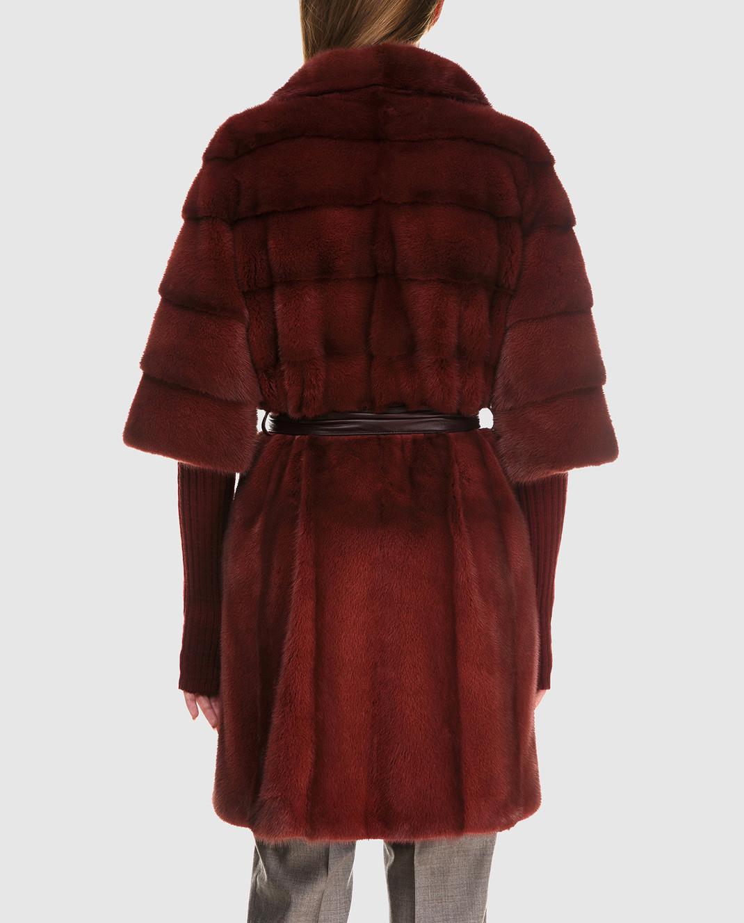 Florence Mode Бордовая шуба из меха норки с поясом и митенками 18N145SILVERBLU изображение 4