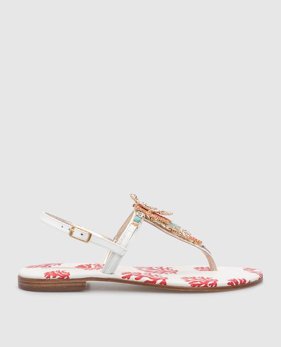 Белые кожаные сандалии с кристаллами