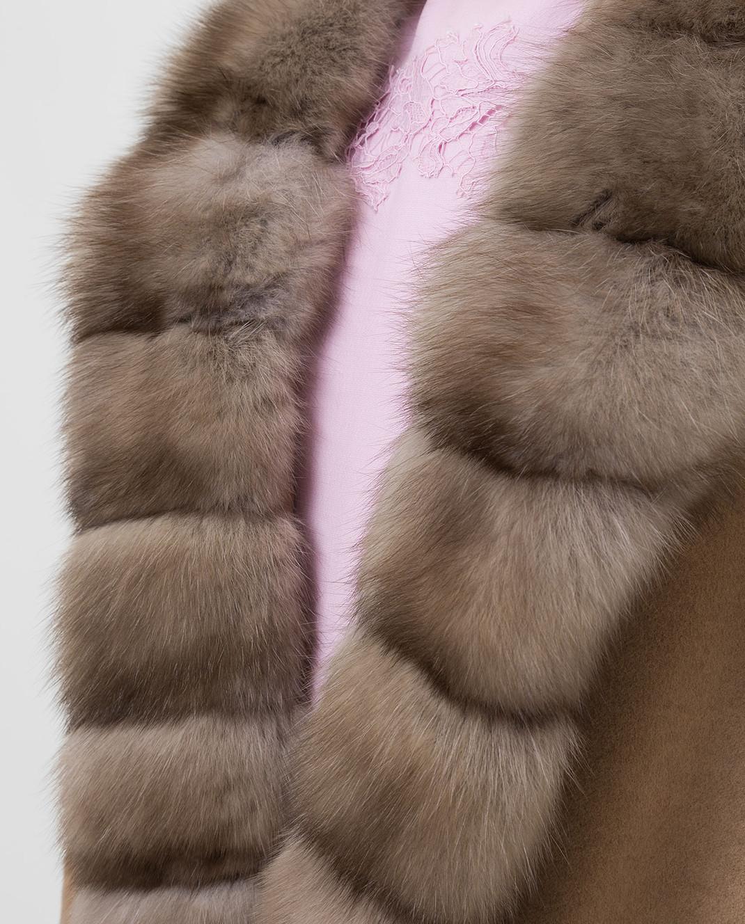 Real Furs House Бежевое пальто из кашемира с мехом соболя изображение 5
