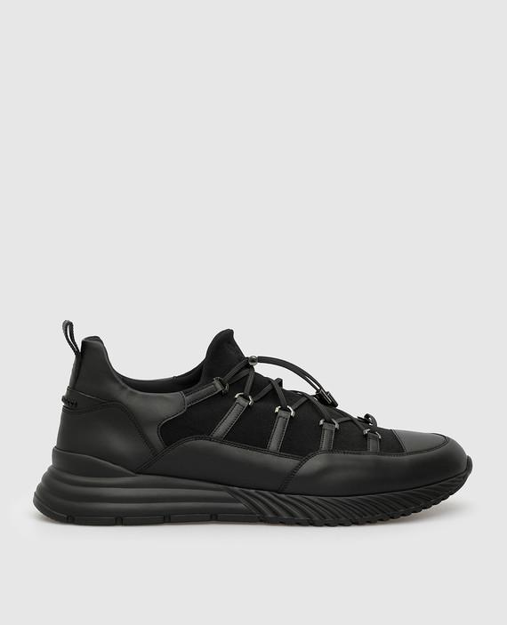 Черные кожаные кроссовки