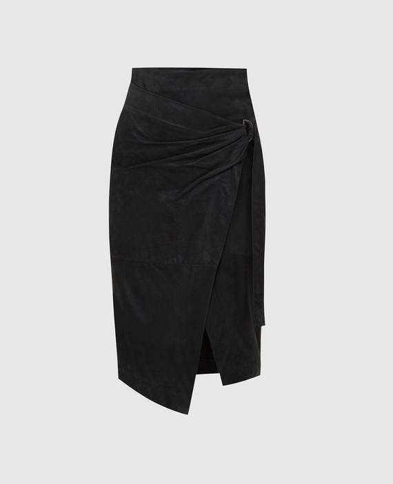 Темно-серая замшевая юбка