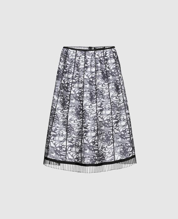 Черная юбка из шелка с принтом