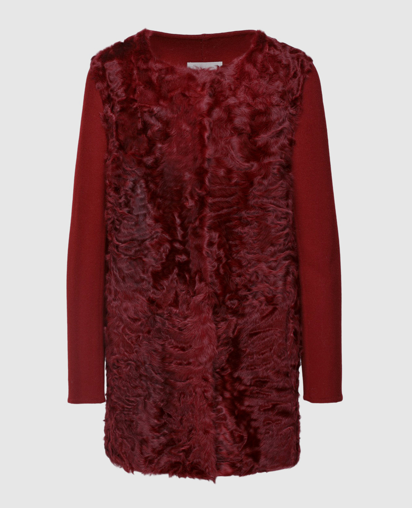 Бордовое пальто из шерсти и меха ягненка