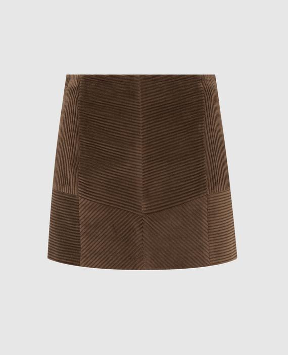 Бежевая вельветовая юбка